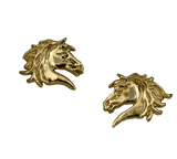 Wildfire Horse Earrings in 14k yellow gold by Lesley Rand Bennett