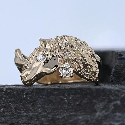 Friesian horse head ring by Lesley Rand Bennett
