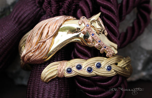 Braided Mane horse bracelet in solid yellow and rose gold with 1 carat of sapphires. this copyrighted design is handcrafted by Lesley Rand Bennett