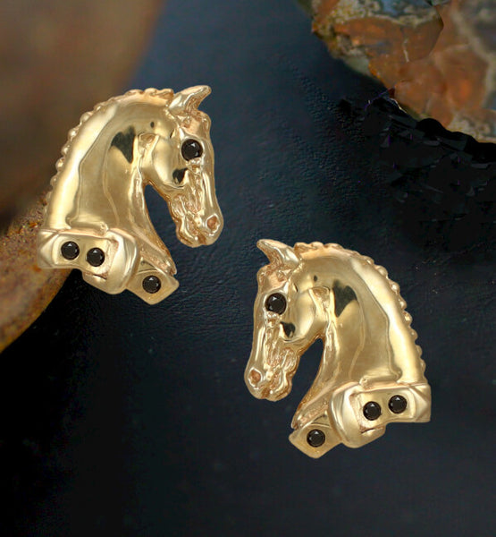 Horse Head Earrings. Black Diamonds and 14k gold. Hand crafted by Lesley Rand Bennett