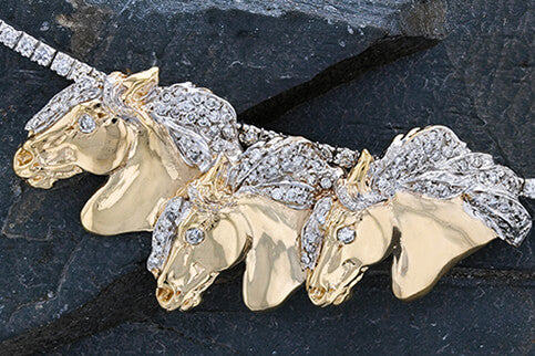 Andalusian Three Horse Slide Pendant 14k with Diamond Eyes and Manes