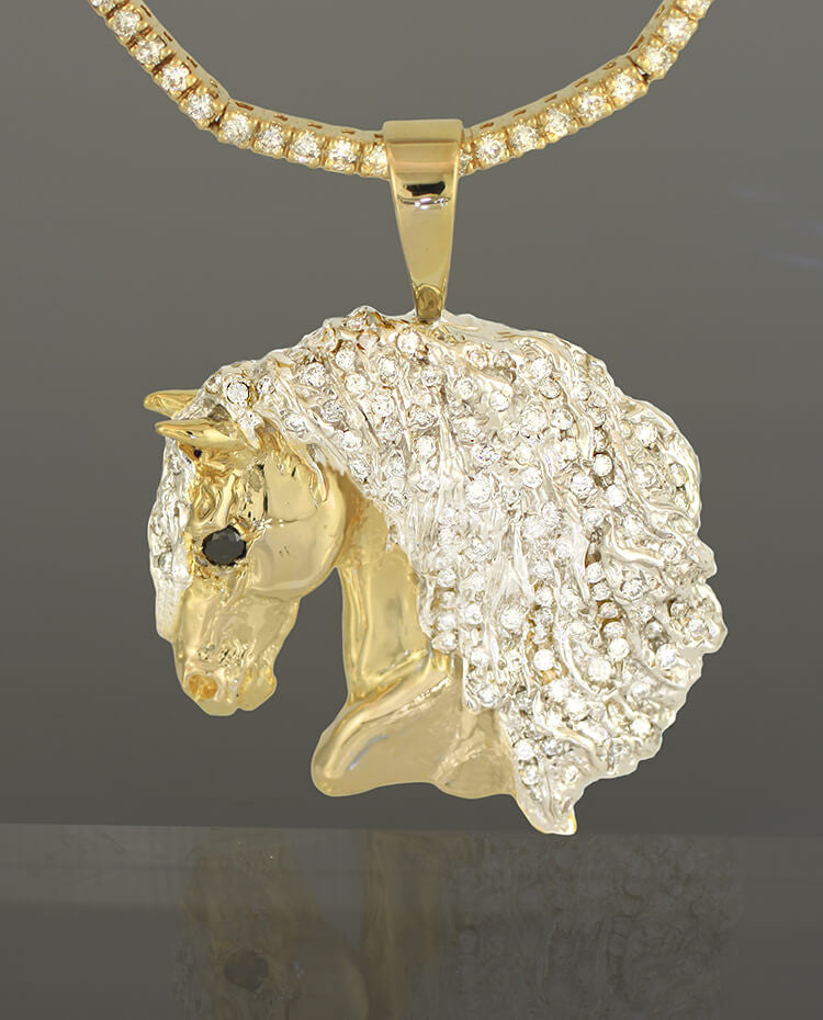 14k gold Friesian Horse head pendant with diamonds. By Lesley Rand Bennett