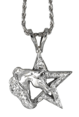 Horse head and diamond star pendant in 14k white gold handcrafted by Lesley Rand Bennett