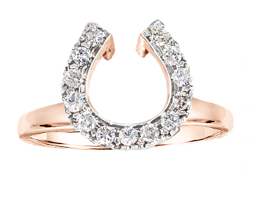Diamond horseshoe wrap ring for wedding set in rose gold