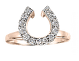 Diamond horseshoe wedding wrap ring in 14k rose gold. By Lesley Rand Bennett