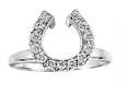 Diamond horseshoe wedding wrap ring in 14k white gold. By Lesley Rand Bennett