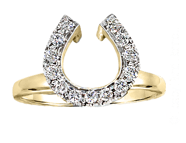 Diamond horseshoe wedding wrap ring in 14k yellow gold. By Lesley Rand Bennett