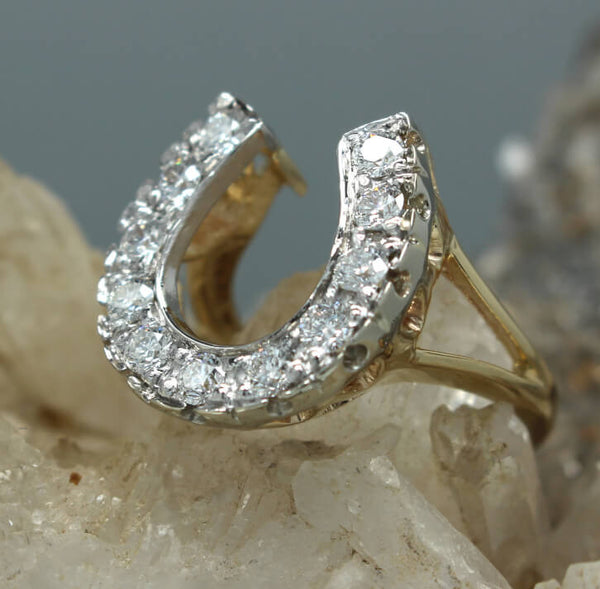 Elegant Diamond Horseshoe ring with 0.90ctw handcrafted by Lesley Rand Bennett