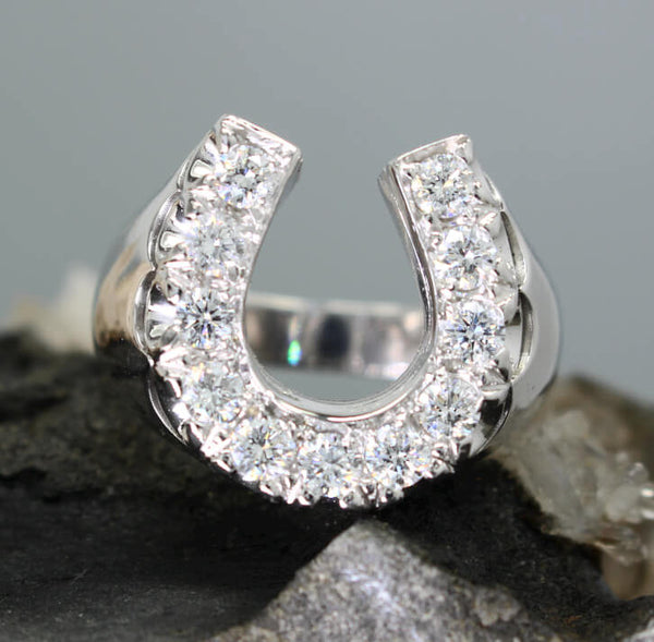 Mens Large Diamond Horseshoe Ring with 1.33 c.t.w.