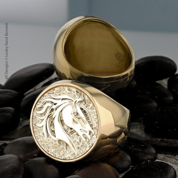 Save The Wild Horses Mustang Ring-14k Yellow