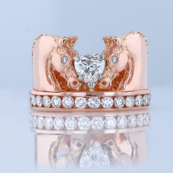 1 c.t.w. We love Horses Ring with 1/2 carat heart shaped diamond
