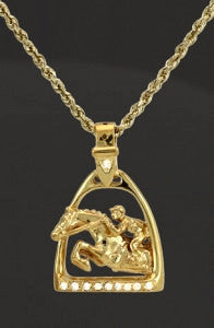 Show Jumper Horse pendant in gold with diamonds. this copyrighted design is handcrafted by Lesley Rand Bennett