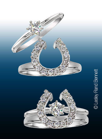 Two Become One Horseshoe Wedding Set