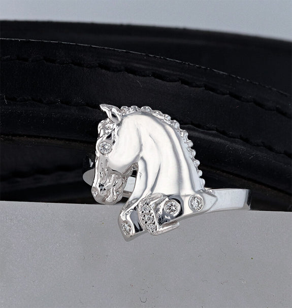 The Athlete-white gold horse ring with diamonds by Lesley Rand Bennett.