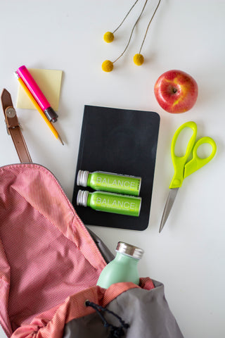 Balance the Superfood Shot Foundation Blend with school supplies