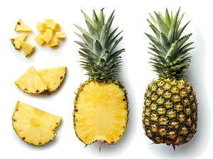 organic pineapple cut and whole