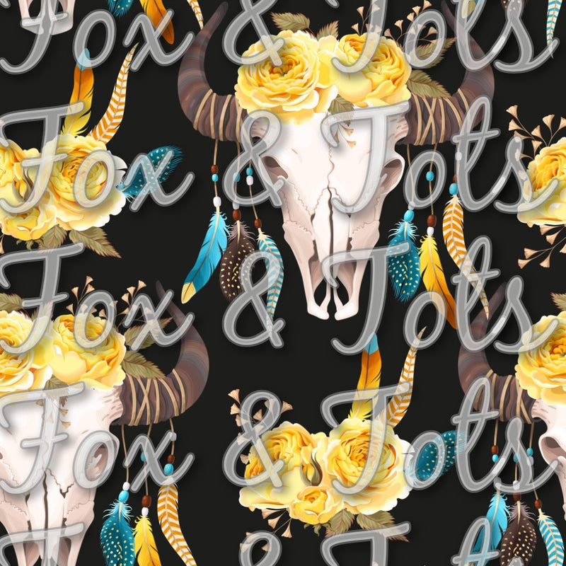 Rodeo Dark Floral Horns Fabric