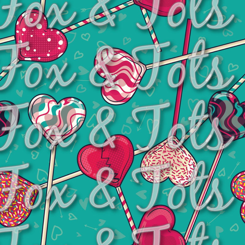 Valentine's Day Lollipops Fabric
