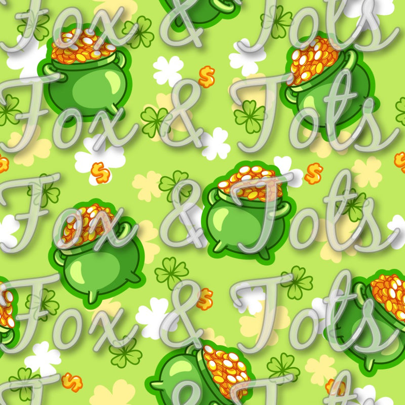 Saint Patrick's Day Pot of Gold Fabric
