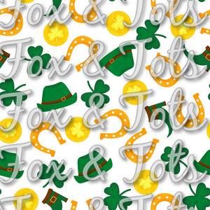 Saint Patrick's Day Clovers Horseshoes Gold and Hats Fabric
