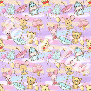 Watercolor Bear and Friends  Fabric