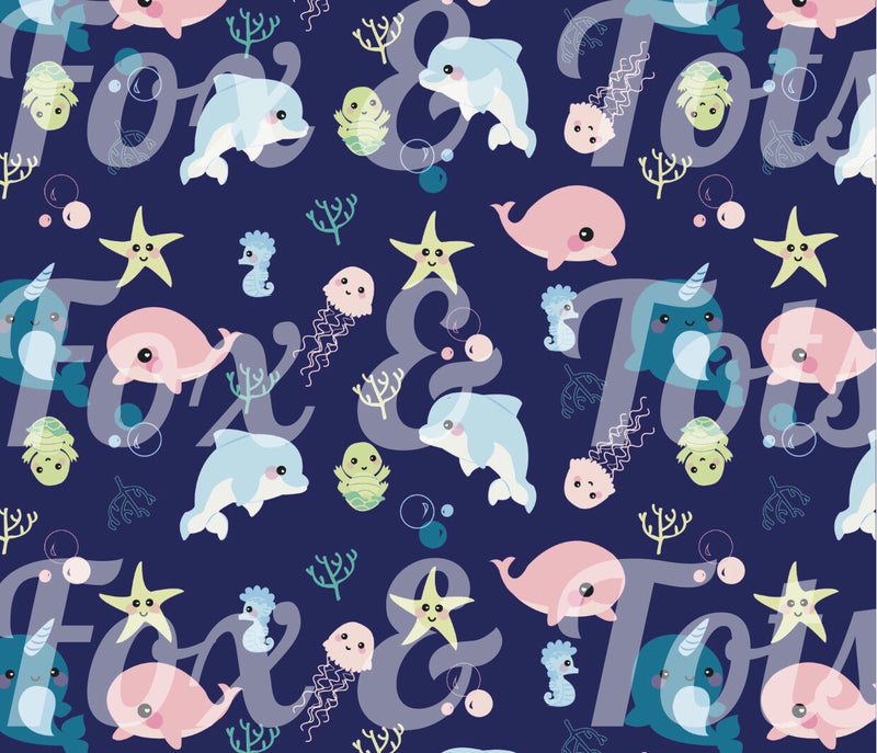 Baby Sea Creatures Fabric SMALL SCALE