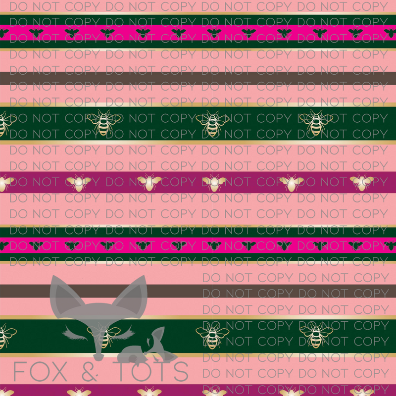 Inspired Pink And Green Bee Stripes Fabric