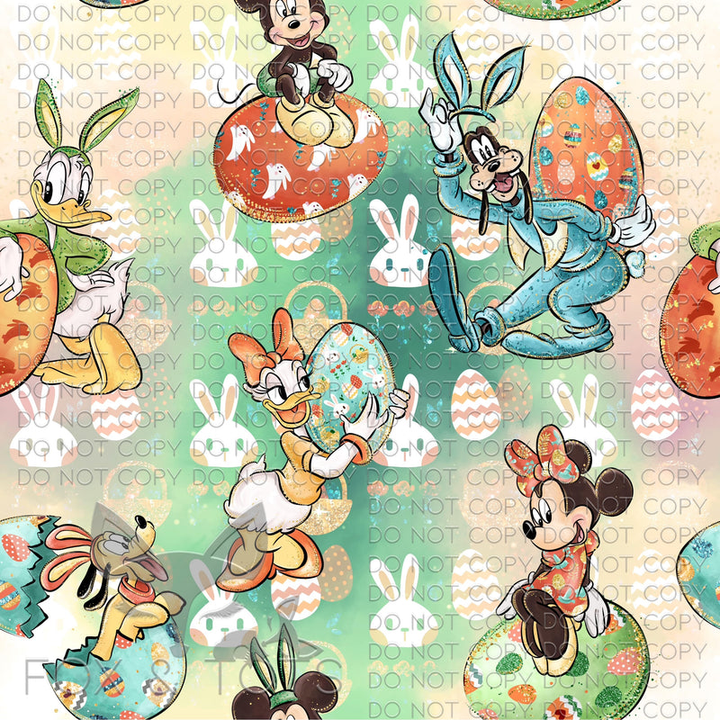 Pastel Bunnies With Character Easter Eggs Fabric