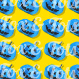 Blue Neon Pumpkins Fabric