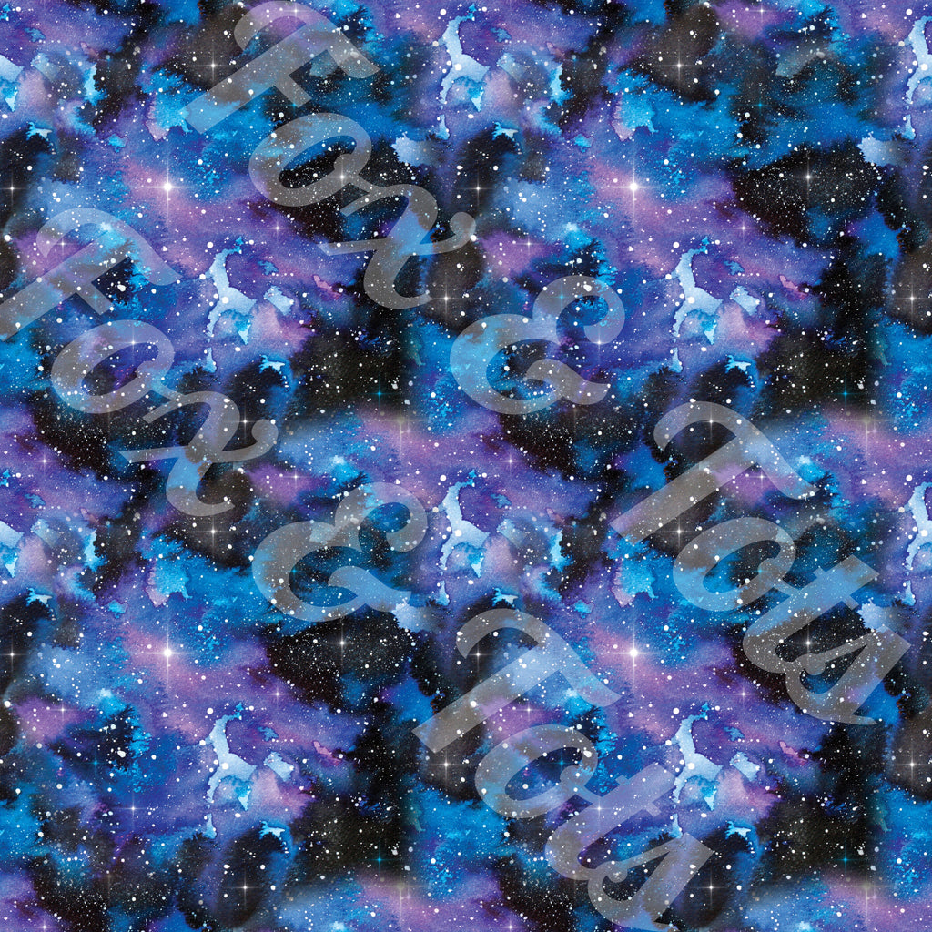 Midnight Galaxy Watercolor Fabric