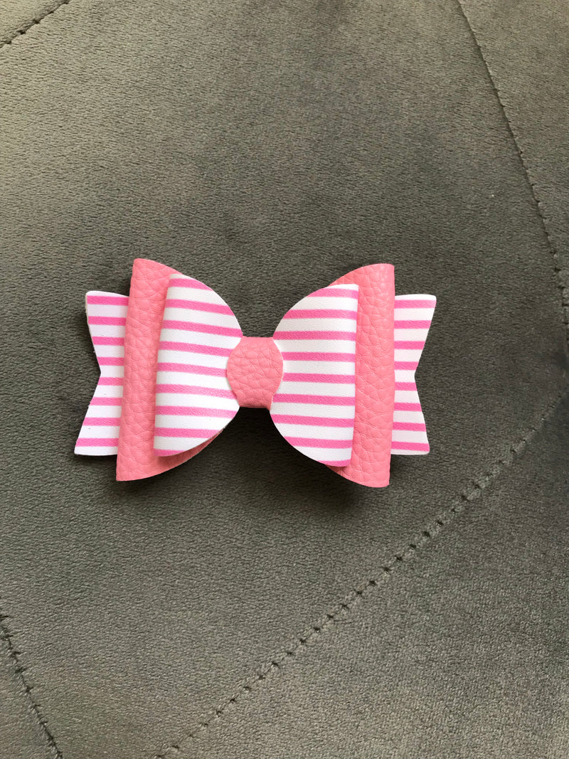 Small Pink Stripe Bow