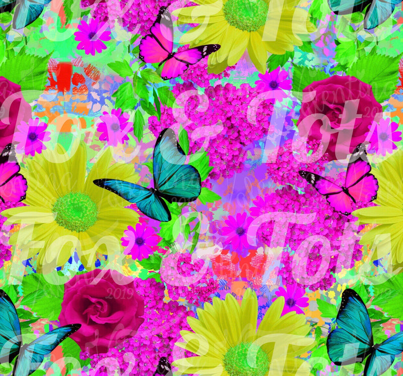 Butterfly Floral Fabric