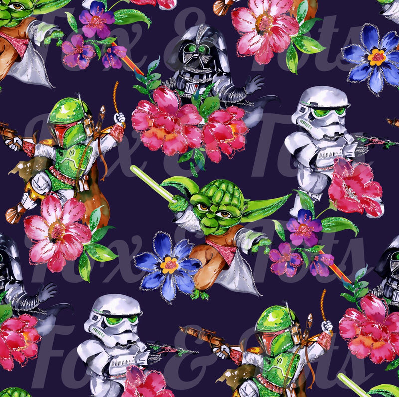 SW Yoda Floral SMALL scale Fabric