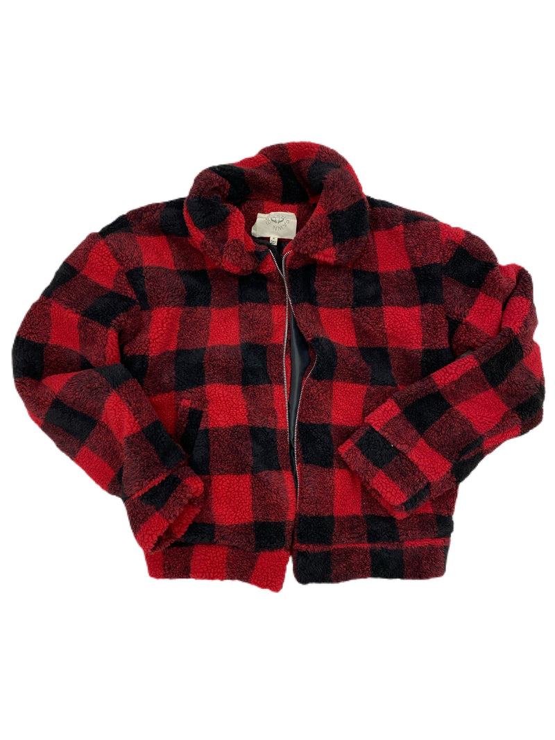 Red & Black checkered zip sweater RTS