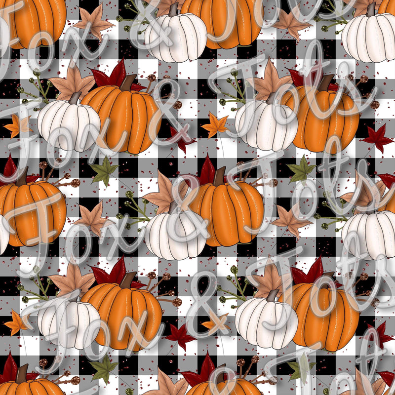 Plaid Pumpkin Fabric