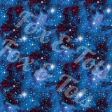 Dreamy Blue Galaxy Watercolor Fabric