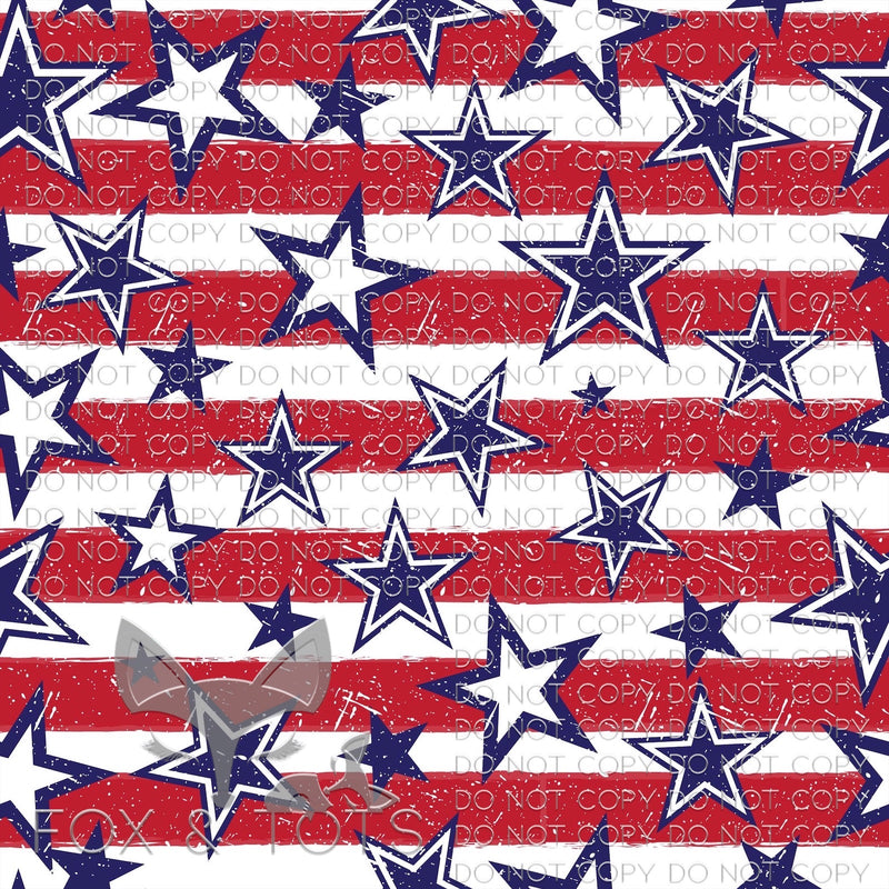 Patriotic Stars & Stripes Fabric