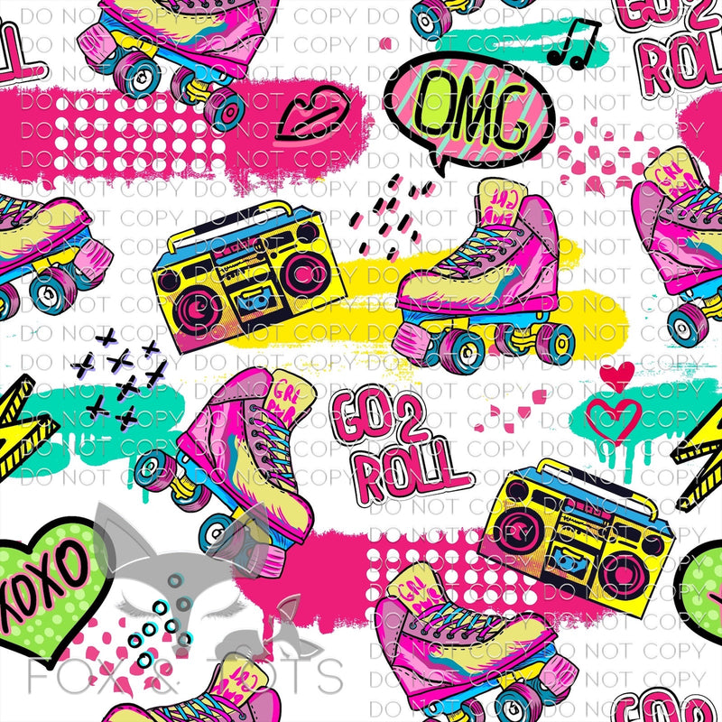 Boombox and Rollerskates Fabric