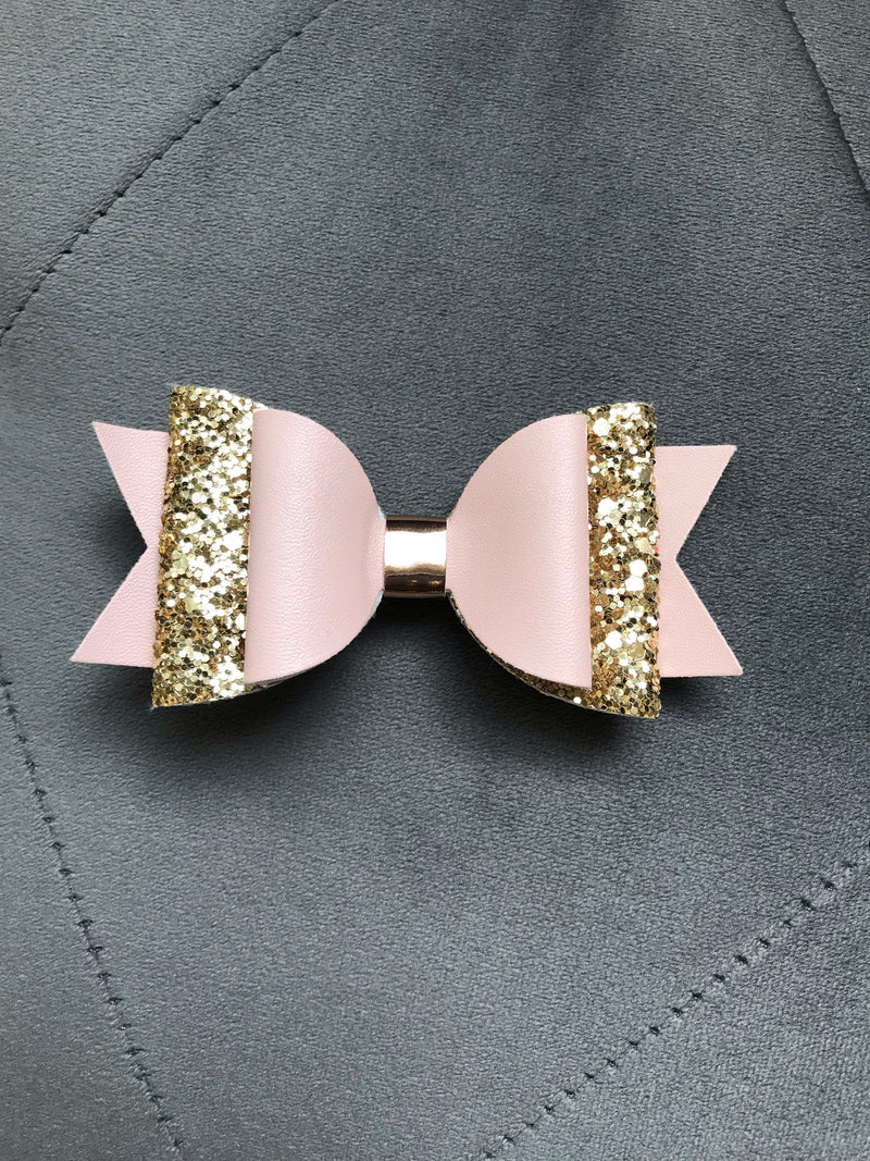Small Pink&Gold Leather/Glitter Bow