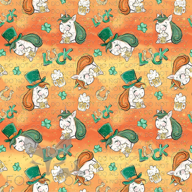 Orange Lucky Unicorn Fabric