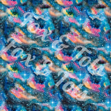 Blue Galaxy Watercolor Fabric