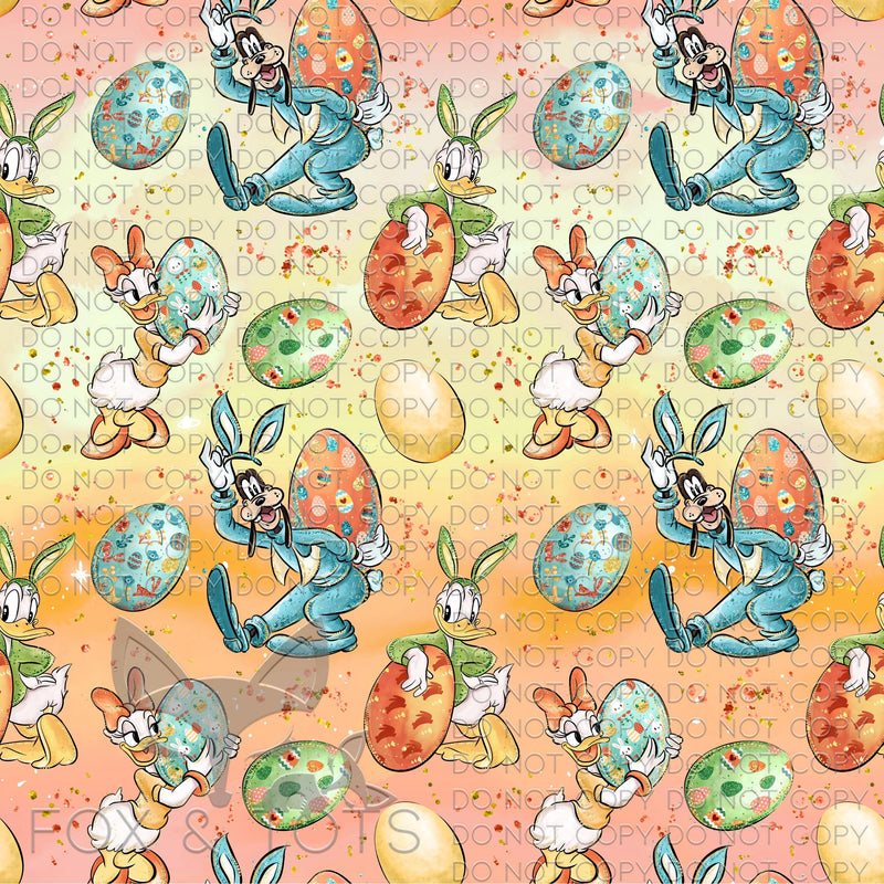 Orange Ombré Character Easter Eggs Fabric