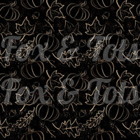 Black and Gold Fall Doodle Fabric