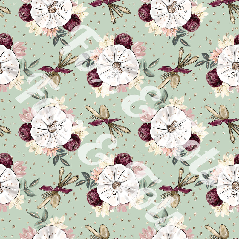 White Blooming Pumpkins Fabric