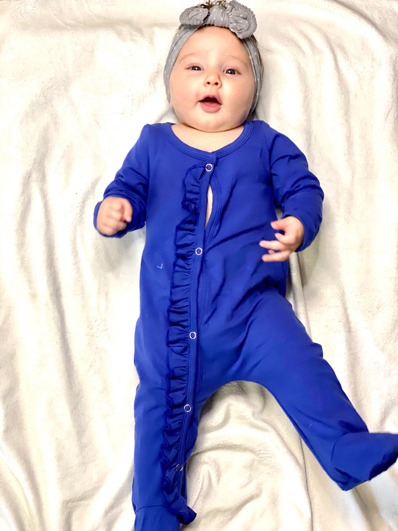 Blue Baby Snap Footie-RTS