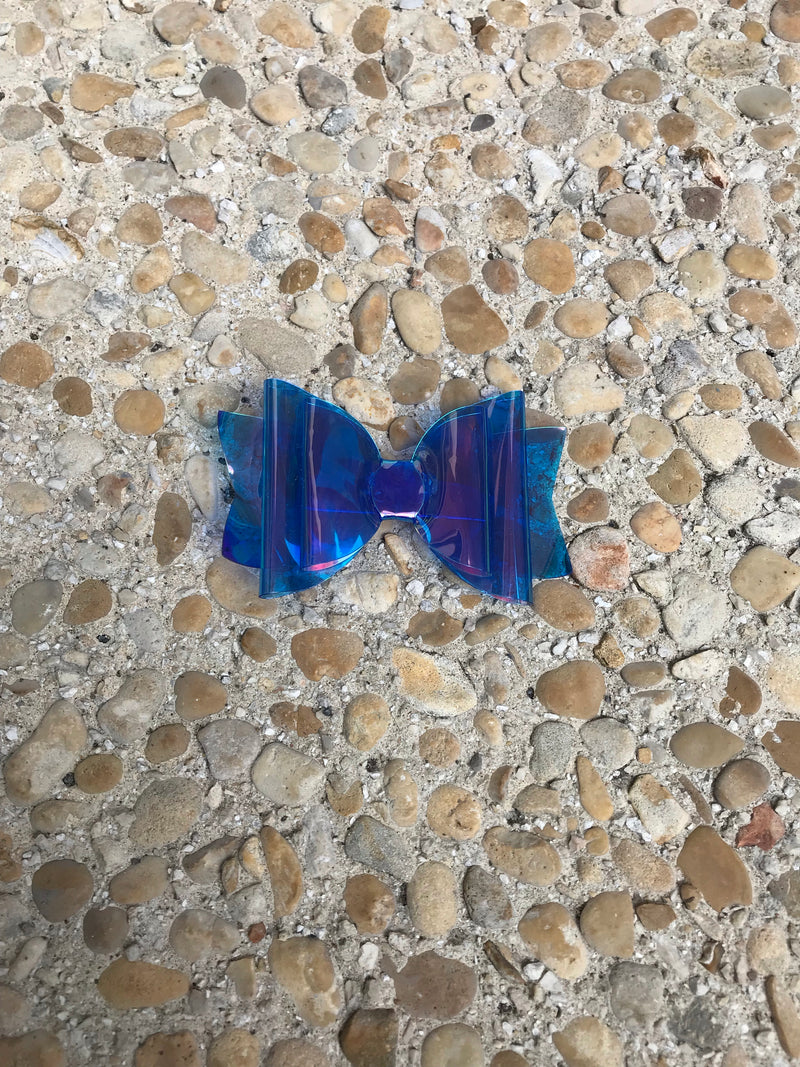 Small Blue Glossy Pool Bow
