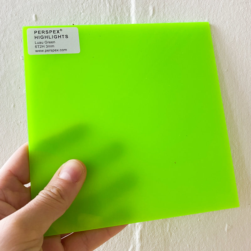 3MM ACRYLIC FLUORESCENT HIGHLIGHTS (FLUO/ NEON) SEMI-OPAQUE - GREEN