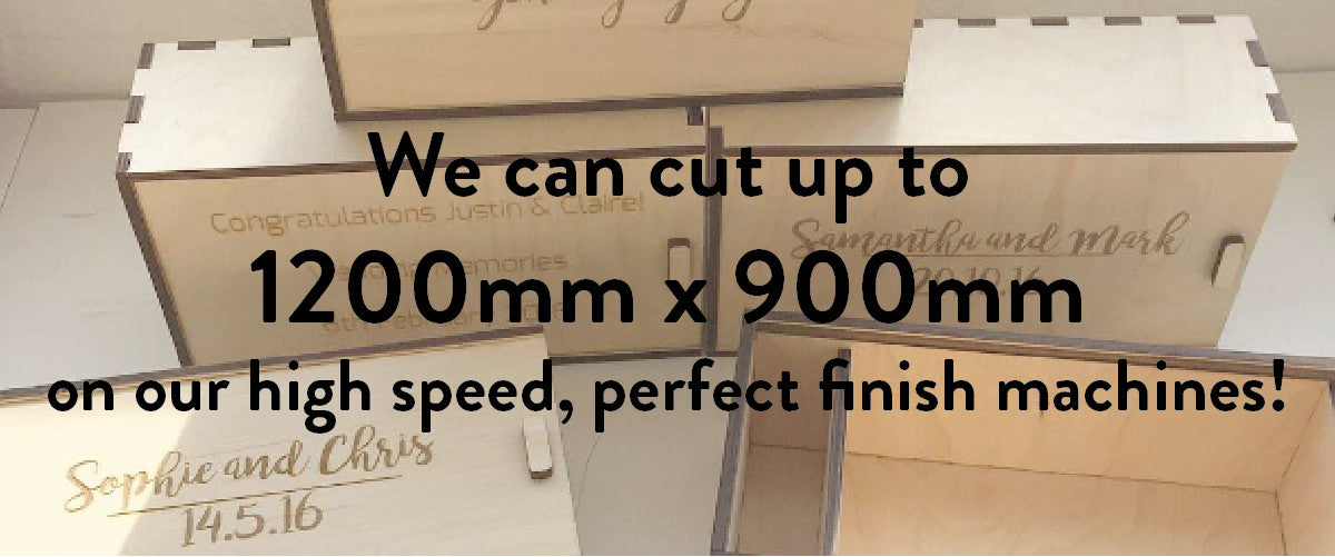 At Sketch Laser Cutting we can laser cut and laser engrave on materials up to 1200mm x 900mm at high speeds with a perfect finish