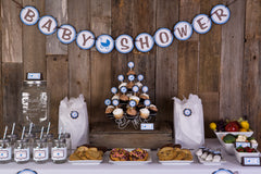 Carriage Baby Shower (Blue/Brown)