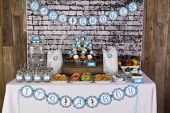 Mom to Be Baby Shower (Aqua/Damask)